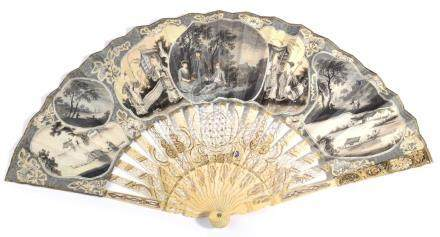 An Unusual Mid-18th Century Ivory Fan, with finely pierced monture, the velum leaf mounted à l'