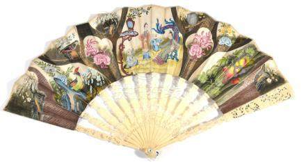 A Mid-18th Century Fan, with finely pierced and carved ivory monture, the guards with a lady and
