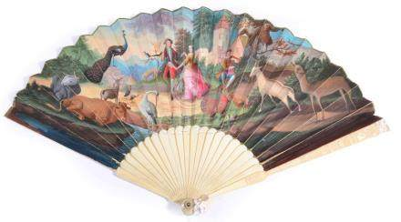 A Fine and Unusual Ivory Fan, circa 1730, the guards carved with a figure in Turkish dress, a