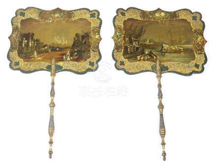 A Pair of Rectangular 19th Century Face Screens or Fixed Fans, lacquered in black and gilded, each