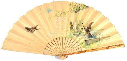 Felix Gardon: A Circa 1930's Fan, with bamboo guards and lacquered gorge, a painted paper leaf