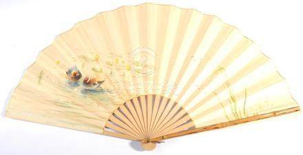 Felix Gardon: A Circa 1930's Fan, with bamboo guards and lacquered gorge, painted paper leaf,