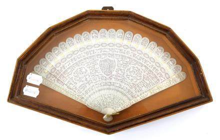 A Chinese Carved Ivory Brisé Fan, circa 1840's, Qing Dynasty, contained in a shaped and glazed