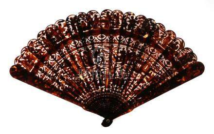 A Circa 1840's Chinese Carved Tortoiseshell Brisé Fan, Qing Dynasty, with 19 inner sticks and two