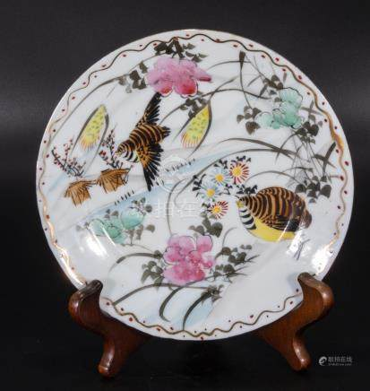 A Chinese Meiji period hand painted porcelain plate, signed