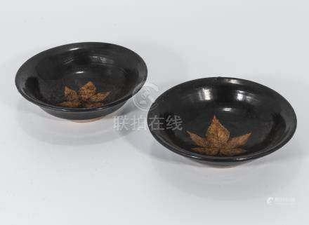 Two Song dynasty glazed bowls with leaf design