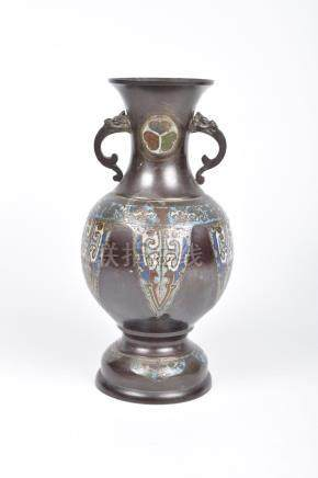 A Chinese metalwork and Cloisonne vase, 20th Century Of baluster form rising from a splayed foot,