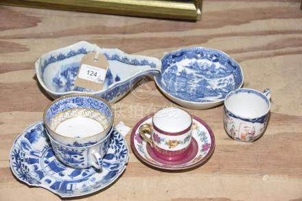 A small collection of Chinese porcelain items Comprising of a famille rose teacup with central panel