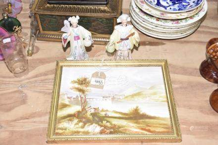 A porcelain painted tile The tile painted as a rural Chinese scene with figures in the back