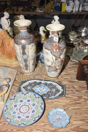 A group of Asian items To include a pair of Japanese vases of shouldered form on ivory ground with
