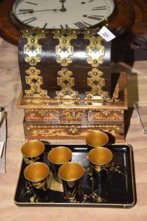 A coromandel and brass arched box The rectangular formed box with domed hinged lid with