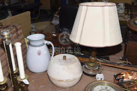 A group of three collectible items To include a wooden table lamp base with hand painted