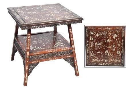 An impressive early 20th Century Chinese bone inlaid hardwood occasional table The square moulded