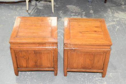 A pair of Chinese hardwood box lamp tables, 20th Century Each of cubic form with a hinged top,