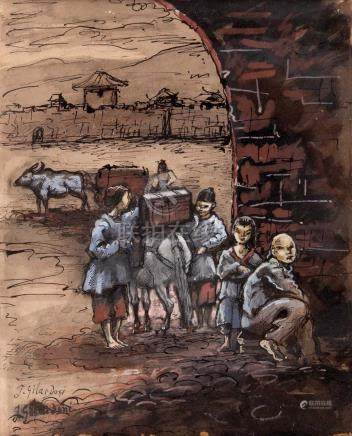 JOSEPH GILARDONI (1882-1961)  Scène de rue en Chine Technique mixte sur papier
