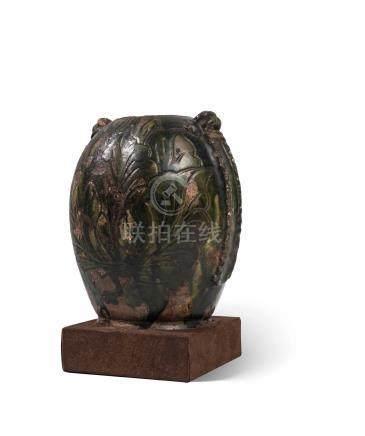 Pot à deux anses Chine - Époque Tang (618 - 907) Terre cuite émaillée vert