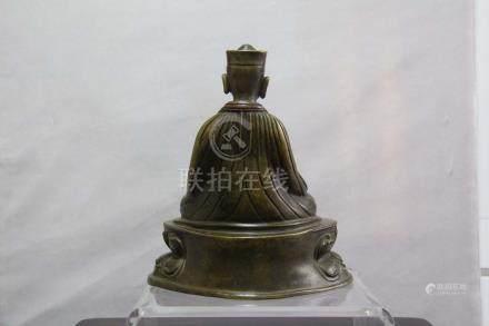 Portrait de Lama Chine, Tibet, dynastie Yuan - XIVe siècle Bronze à incrustat