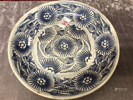 An early 20th Century Chinese dish of blue glaze and floral pattern.