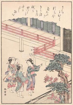 "Katsukawa Shunshô ""Drei Frauen vor einem Tempel"". Late 18th"