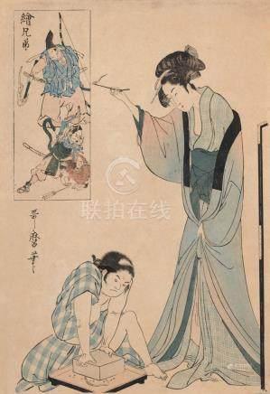 """Utamaro Kitagawa """"Mutter und Kind mit Schlange"""" (Aus der Ser"""