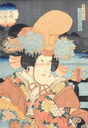 Utagawa Kunisada II., Schauspieler Iwai Kumesaburô III als S