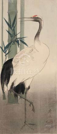 "Ohara Koson ""Kranich und Bambus"". Early 20th cent."