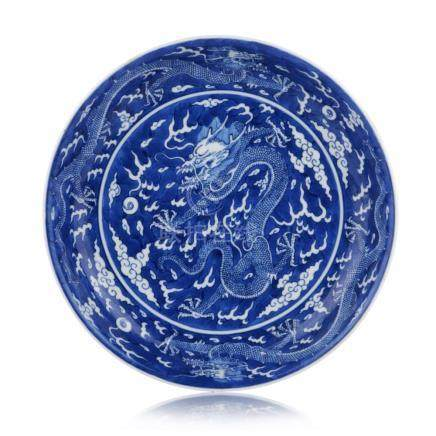 Teller mit Drachendekor. Qing Dynastie (1644-1911), 19. Jh./