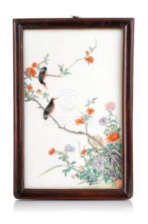 Bildplatte mit Vogel auf Zweig. Wohl China. 19. Jh./ 20th ce
