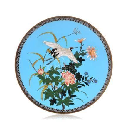 Cloisonne-Teller mit Kranich und Blueten. Japan. Meiji, 1900