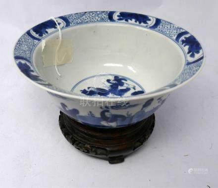 A small Chinese blue and white 'Ladies and Boys' Klapmuts bowl, Kangxi mark and of the period,