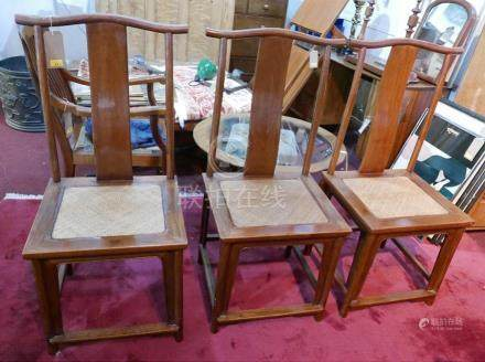 A set of three 'Altfield' Chinese Huang Huali wooden chairs, two with makers plaques