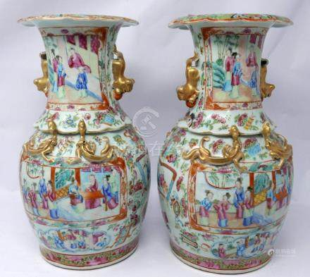 A pair of 19th century Chinese Canton famille rose enamelled and gilded vases, unmarked, H: 33cm,