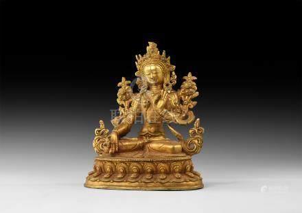 Sino-Tibetan Gilt Arya Tara Statuette