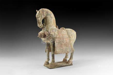 Chinese Caparisoned Horse Figurine