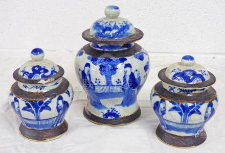 PAIR OF CHINESE BLUE & WHITE CRACKLE WARE LIDDED VASES WITH 4 CHARACTER MARKS 14 CMS - ONE OTHER 21