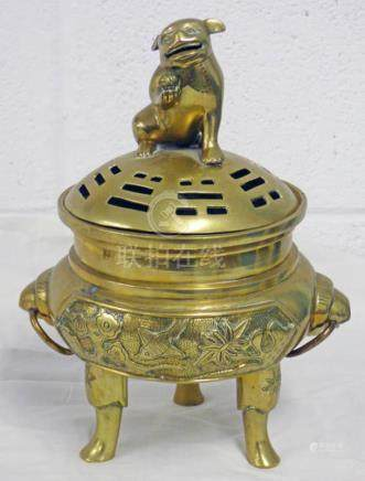 CHINESE BRASS CENSOR PIERCED DECORATED LID AND EMBOSSED BIRD DECORATION WITH SEAL MARK - 22CMS