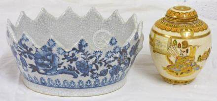 BLUE AND WHITE CHINESE OVAL CRACKLE WARE BOWL WITH FLORAL DECORATION 20CMS LONG & JAPANESE GINGER