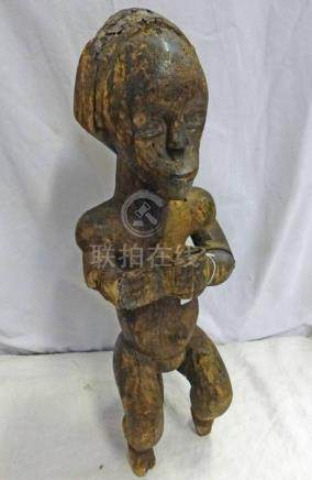 FANG SEATED FIGURE HOLDING CUP WITH INSET BRASS EYES 60CM TALL