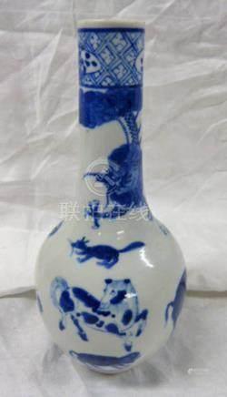 CHINESE BLUE & WHITE BOTTLE NECK VASE DECORATED WITH ZEBRA, SNAKE, TIGER, BUFFALO, ETC.
