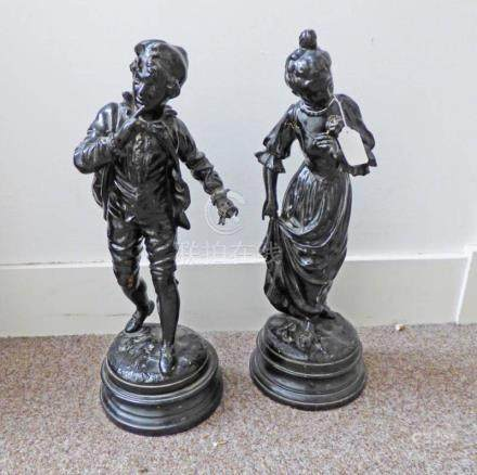 PAIR OF METAL 19TH CENTURY STYLE FIGURES 50CMS