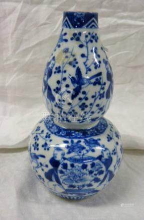 CHINESE BLUE & WHITE GOURD SHAPE VASE DECORATED WITH BIRDS, FIGURES ETC.