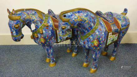 PAIR CHINESE CLOISONNE HORSES WITH FLORAL DECORATION 58CM TALL (28)