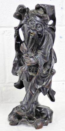 CHINESE HARDWOOD CARVING OF MALE FIGURE 37 CMS