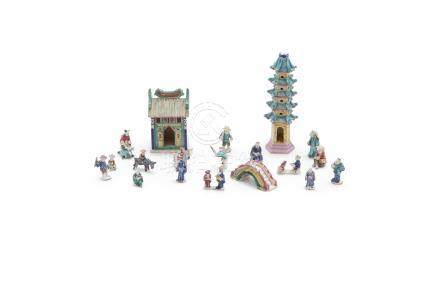 A COLLECTION OF CHINESE GLAZED POTTERY FIGURES AND STRUCTURES; comprising 21 pieces including a