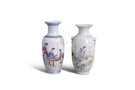 A CHINESE REPUBLICAN BALUSTER SHAPED VASE, decorated with ladies playing within a garden landscape