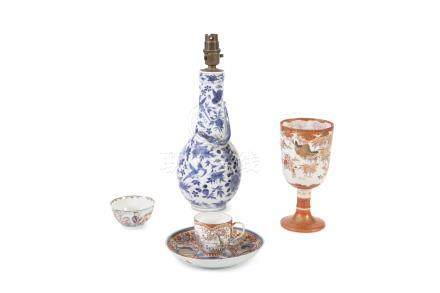 A COLLECTION OF ORIENTAL PORCELAIN, comprising a Chinese 19th century blue and white vase, converted