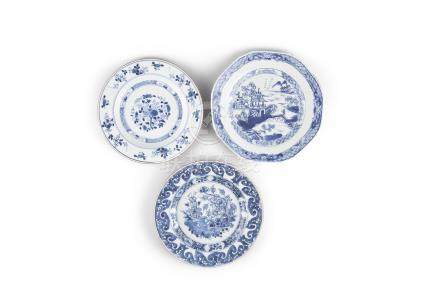 A GROUP OF THREE CHINESE 18th CENTURY DISHES, compromising one octagonal example painted with pagoda