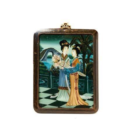 Escuela china, mediados del s.XX. Geishas. Pintura bajo cristal. Enmarcada. 32 x 27 cm.