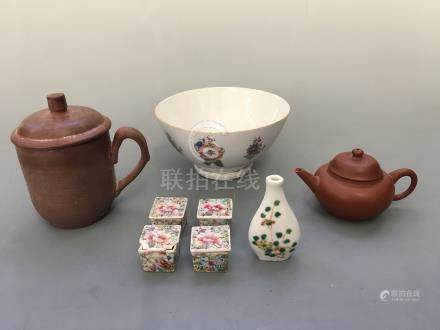 A Yixing teapot and lidded mug, four small Chinese boxes, a small vase painted with flowers and rice