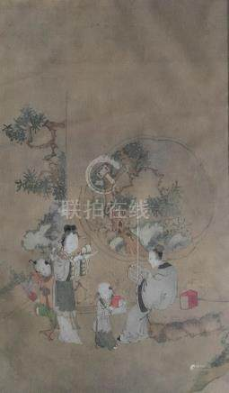 An eighteenth Century Chinese painting on silk, depicting four figures in interior looking onto